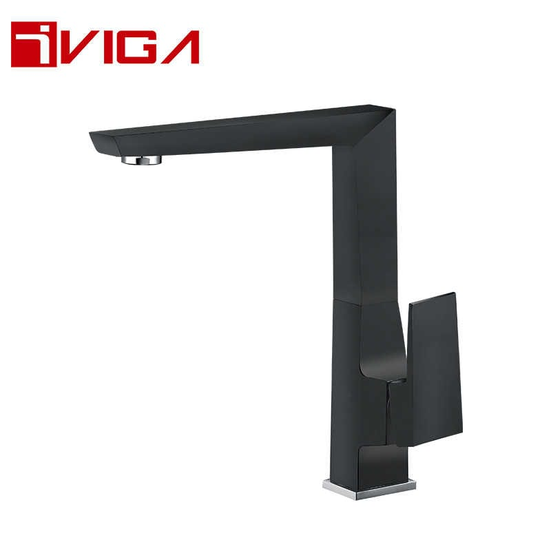 Matte black square design kitchen sink faucet